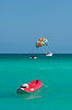 Parasailing on Miami's South Beach, Florida, USA.