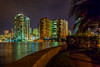 Buildings of the city skyline reflected in the intracoastal waterway at Miami, Florida, USA.