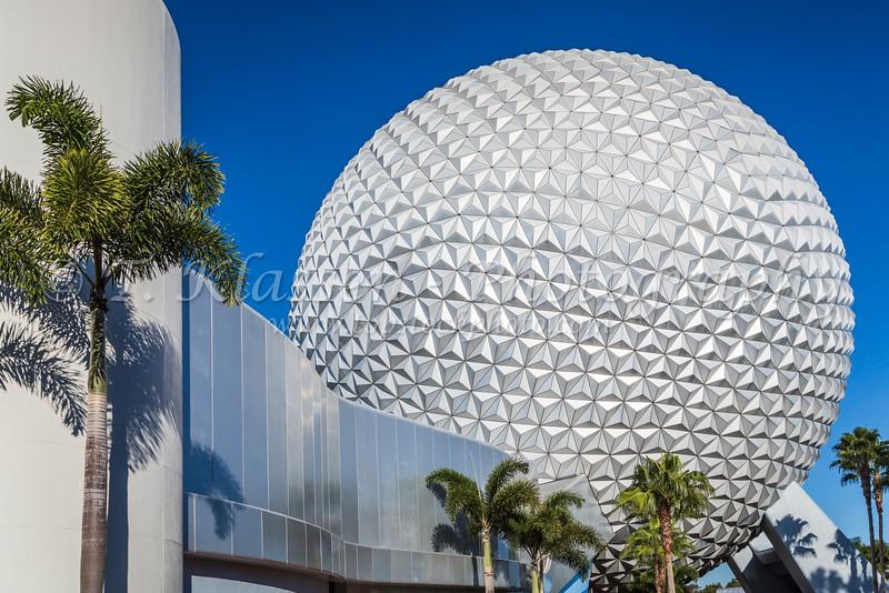 The geodesic dome of Spaceship Earth at Epcot Center, Walt Disney World, Orlando, Florida, USA.