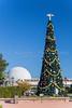 A large decorated Christmas tree at Epcot Center, Walt Disney World, Orlando, Florida, USA.