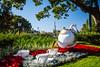 A china teapot at the United Kingdom Pavilion at Epcot Center, Walt Disney World, Orlando, Florida, USA.