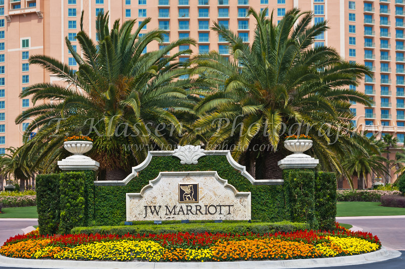 The front sign and entrance to the J.W. Marriott Resort in Orlando, Florida, USA.