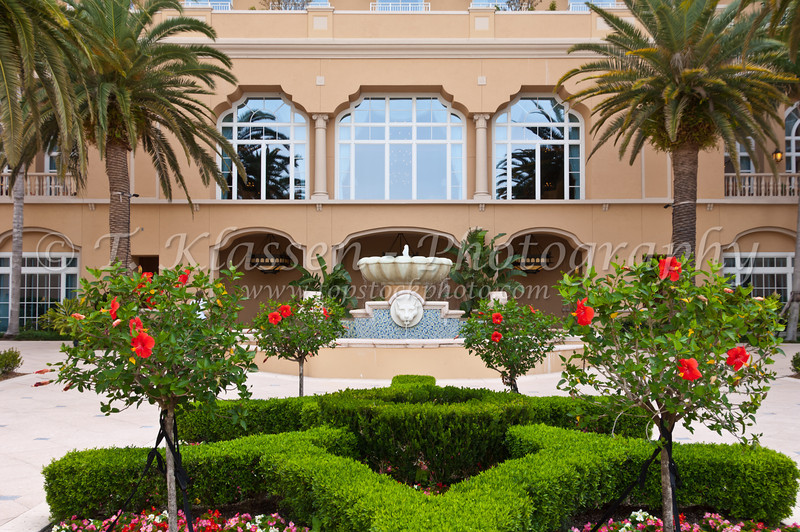 An outdoor courtyard at the Ritz Carlton Resort in Orlando, Florida, USA.