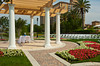 An outdoor garden courtyard set up for a wedding at the J,W. Marriott Resort in Orlando, Florida, USA.