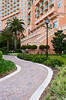 A curved pathway to an entrance at the J.W. Marriott Resort in Orlando, Florida, USA.