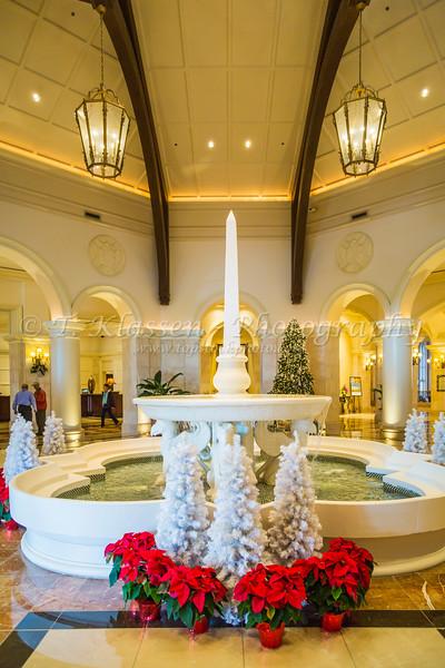 The JW Marriott Resort hotel interior lobby with Christmas decorations in Orlando, Florida, USA.