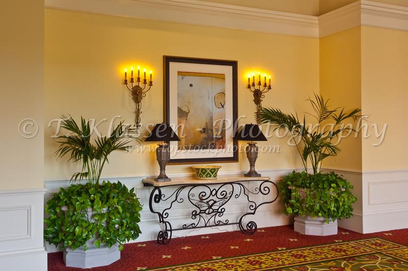 Interior hallways of the J.W, Marriott Resort in Orlando, Florida, USA.