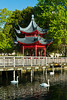 A Chinese pagoda building on Eola Lake in Orlando, Florida, USA.