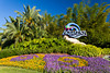 Aquatica sign with flowers in Orlando, Florida, USA.