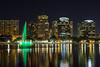 Lake Eola with illuminated fountain at night in Orlando, Florida, USA.