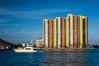 Colorful condominium complex on the intracoastal waterway near Palm Beach, Florida, USA.