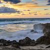 Rocky beach at dawn