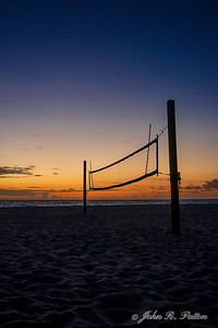Volleyball net at dawn.