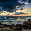 Rocky beach at dawn.