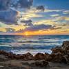 Rocky beach at sunrise.