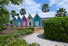 Colorful architecture in the town of Sumter Lake Landing at The Villages, Florida, USA.