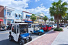 Golf carts and automobiles on the street at Sumter Lake Landing at The Villages, Florida, USA.