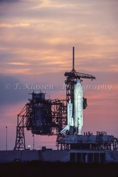 The Space Shuttle Columbia STS-1 on the launch pad at Cape Kennedy, Florida, USA.