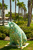 A statue of a dressed up pig on the street in Venice, Florida, USA.