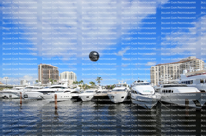 A line of boats displayed for sale at the Fort Lauderdale International Boat Show.
