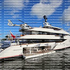 Luxury mega yacht with personal helicopter on display at Bahia Mar Yachting Center at the Fort Lauderdale International Boat Show.
