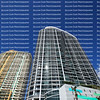 Looking up at condos and apartment high rises situated on the New River in the heart of downtown Fort Lauderdale.