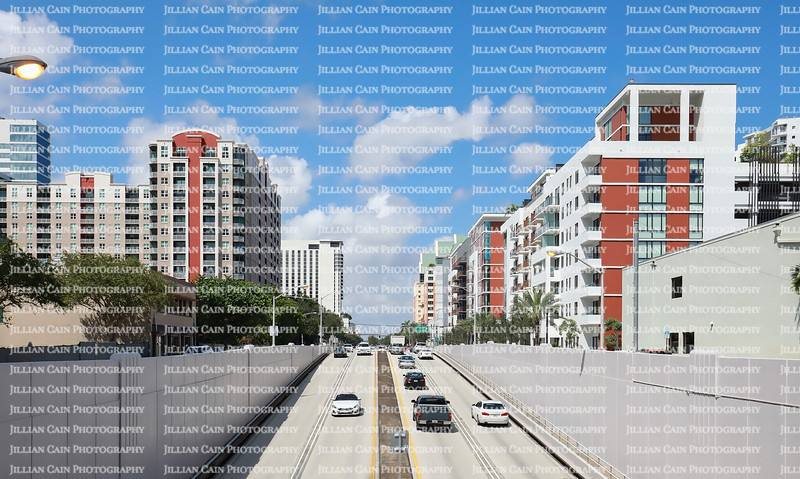 Rows of apartments and condominiums between the Kinney Tunnel at the intersection of Broward Boulevard and US1.