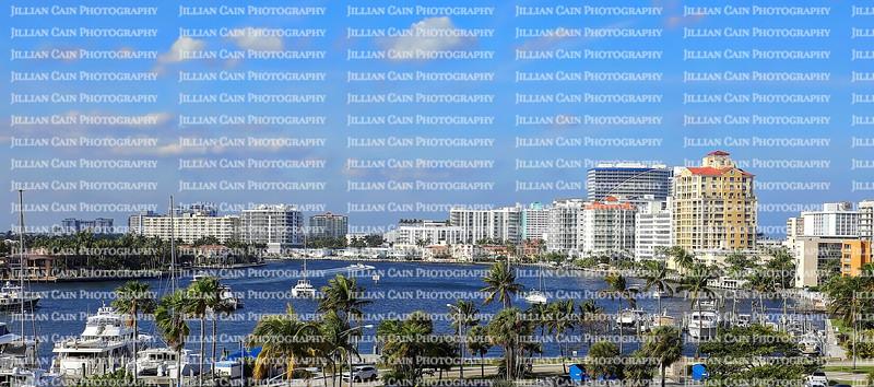 Fort Lauderdale waterfront skyline looking north towards Sunrise Boulevard.