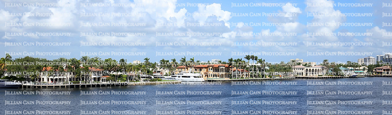 Aerial view of waterfront homes along the Intracoastal waterways in Fort Lauderdale, Florida, USA.