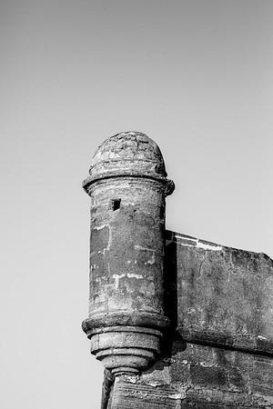 Castillo de San Marcos Sentry Tower in Black