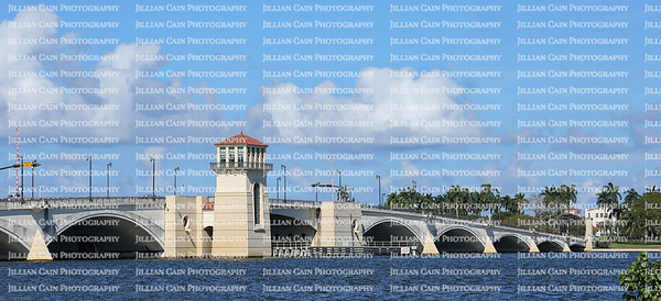Royal Park Draw Bridge as seen from Flagler Avenue in downtown West Palm Beach.  Royal Park Bridge connects Palm Beach with West Palm Beach over the Intracoastal Waterway.