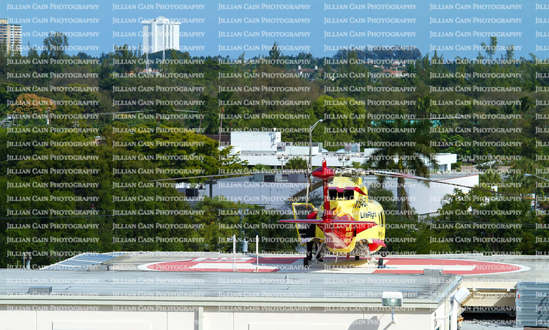 Hospital Helicopter pilot getting ready to take off