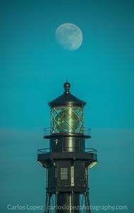 Hillsboro Lighthouse + Moon (Isaias)