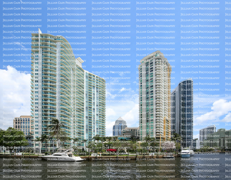 Beautiful scenic riverfront condos and apartments located on Las Olas Riverwalk in downtown Fort Lauderdale, Florida, USA.