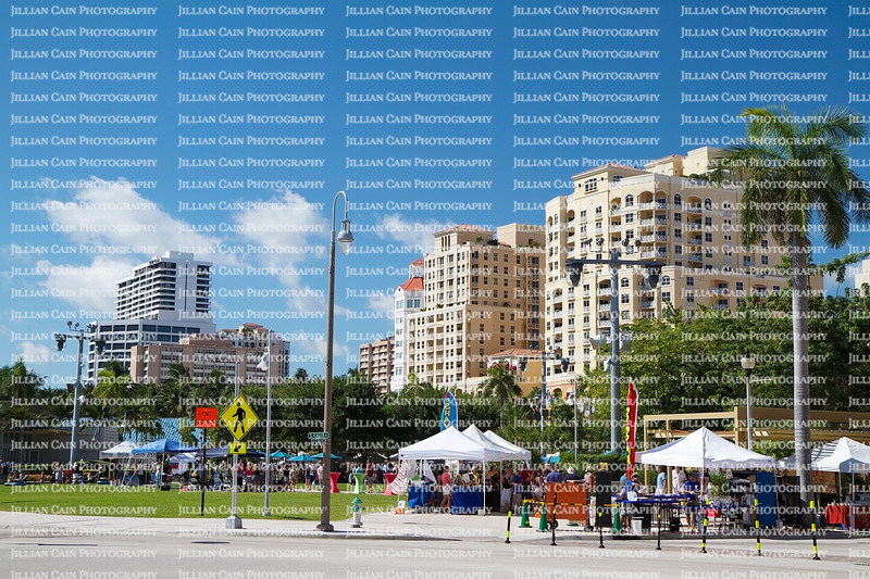 Street fair event in West Palm Beach, Florida, USA on a beautiful fall day.