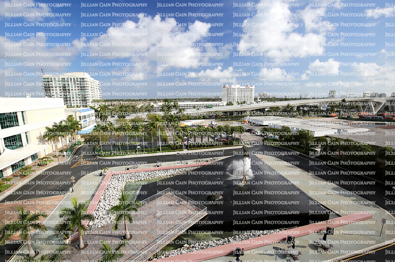 EDITORIAL USE ONLY:  Aerial view of the 17th Street Causeway bridge, Port Everglades Marina,  the Broward County Convention Center and the Fort Lauderdale skyline.