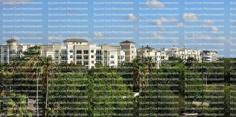 Aerial view of upscale high rise apartments in Plantation, Florida, USA.
