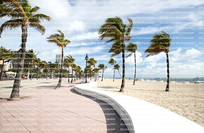 View of beautiful Fort Lauderdale Beach and the curved wave wall
