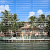 Colorful waterfront home on the Intracoastal waterways in Fort Lauderdale, Florida, USA.