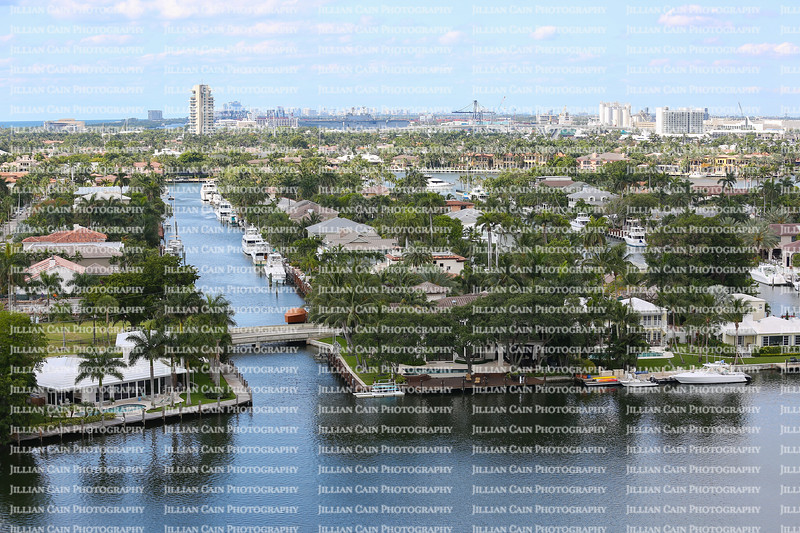 Aerial view of Fort Lauderdale's Intracoastal waterway canals, residential homes and skyline