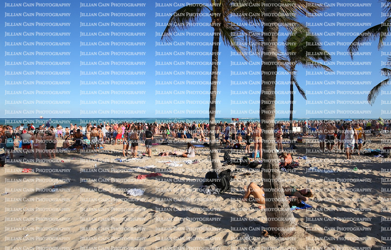 College students from all over the United States visit the blue waters and white sands of Fort Lauderdale Beach.