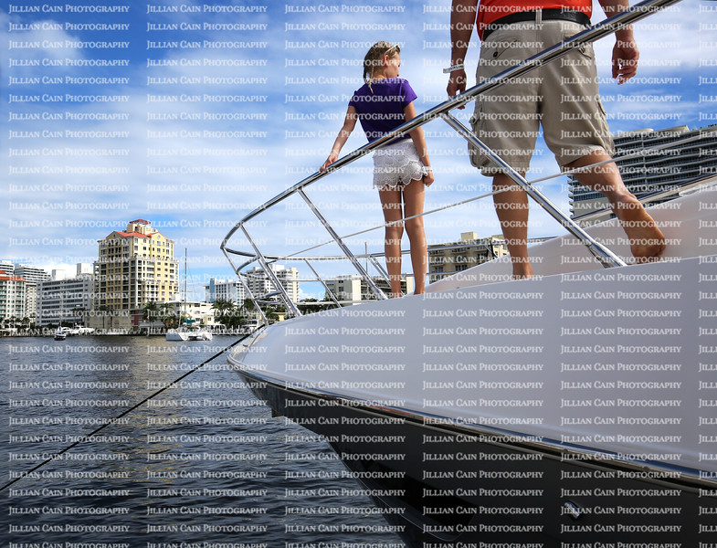 Father and daughter tour boats at the Fort Lauderdale Boat Show.