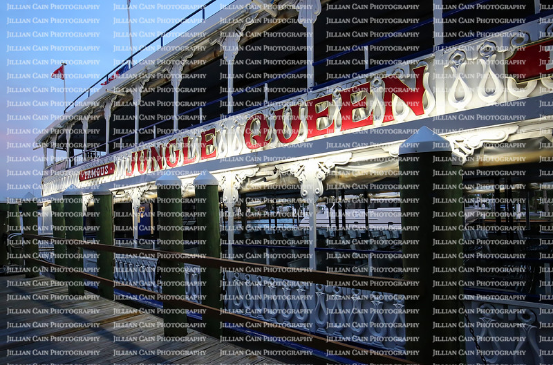 Close up of the Jungle Queen Riverboat docked at their private island during the dinner cruise and show.