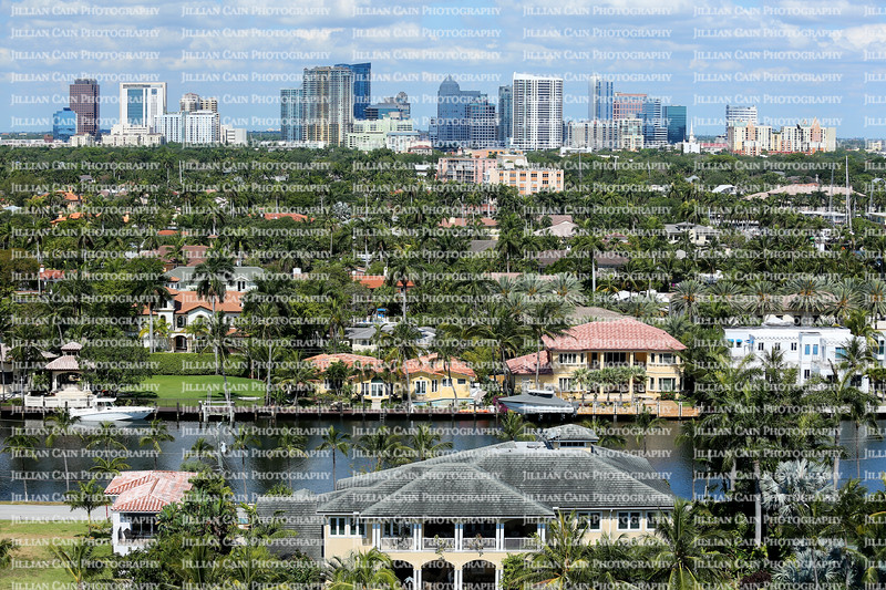 Aerial view of Fort Lauderdale's skyline, intracoastal waterways and surrounding waterfront homes