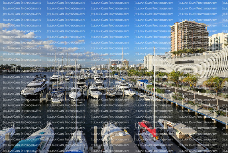 Aerial view of boats docked at a local marina close to the Las Olas Bridge and the Fort Lauderdale Beach.