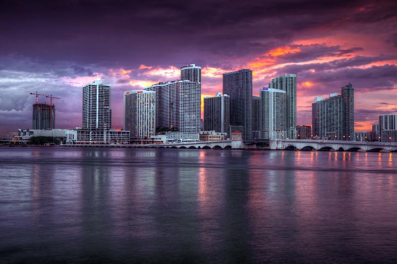 Sunset, Miami Skyline