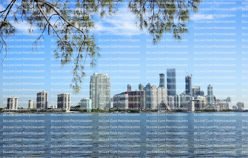 Early morning view of Miami's skyline as seen from the Rickenbacker Causeway.