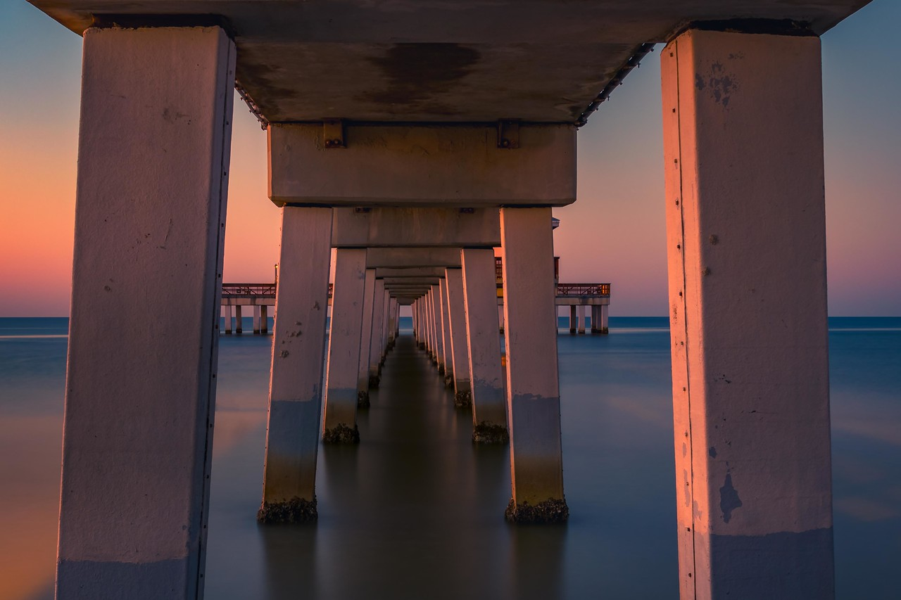 Underneath Ft Myers Beach Pier at Sunrise