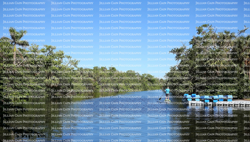 Man paddle boarding in the calm lagoon waters of Hugh Taylor Birch State Park in Fort Lauderdale, Florida.