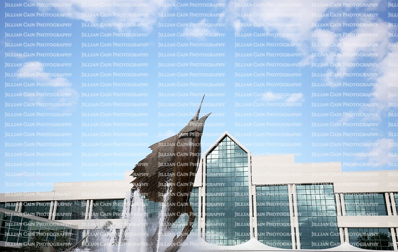 Dramatic 35-foot bronze sailfish sculpture showcases the entrance to the Broward County Convention Center adjacent to Port Everglades